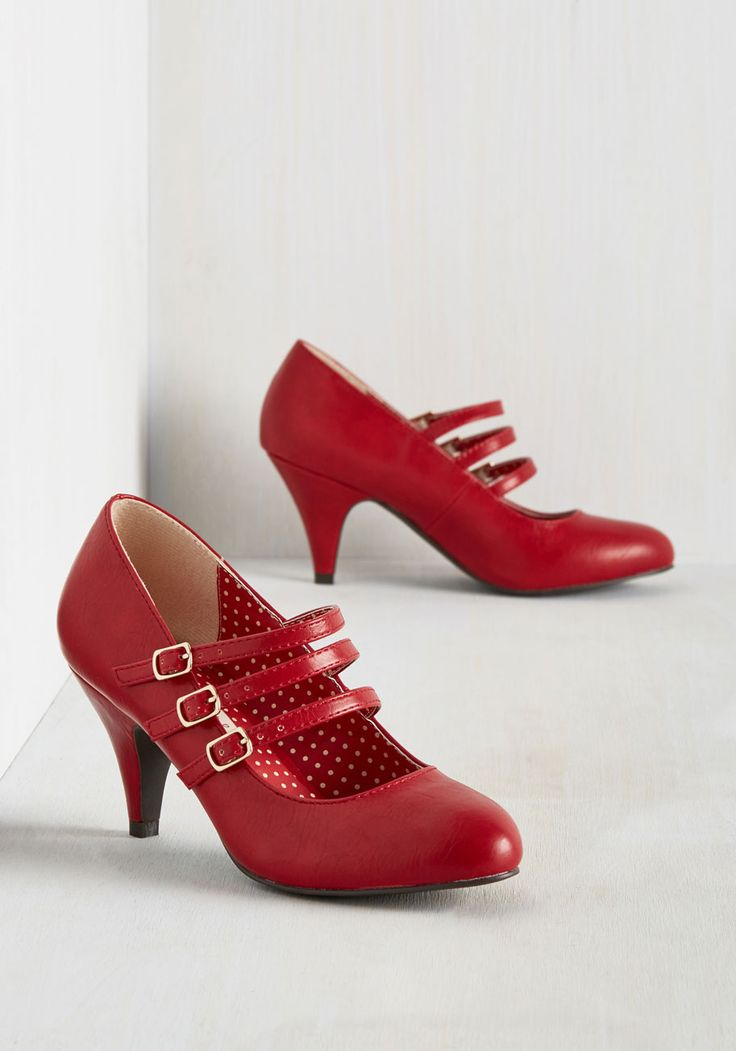 Many Strappy Returns Heel. After receiving so many compliments on these cherry red pumps from B.A.I.T. #red #modcloth $69