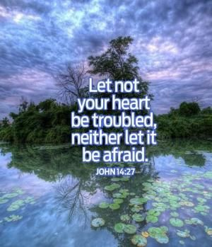 John 14:27 Let not your heart be troubled, neither let it be afraid. --Resting in God.