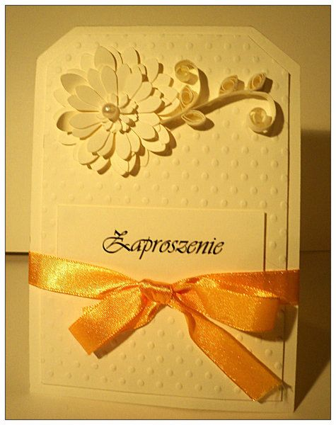 Handmade pretty , simple invitation with envolope w Katrzynka na DaWanda.com