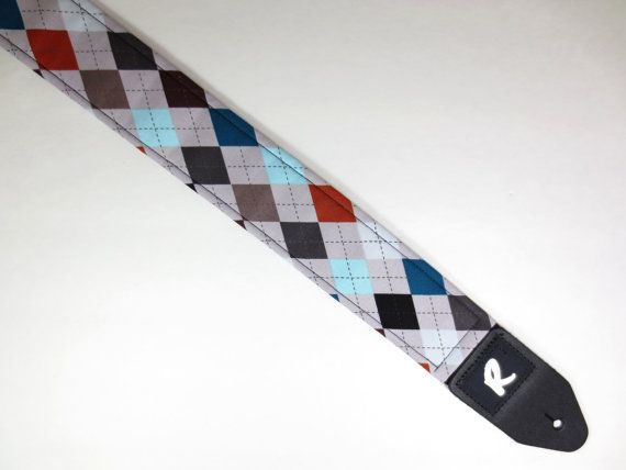 Argyle Guitar Strap - Preppy - Mens Gift Ideas - Guitar Accessories