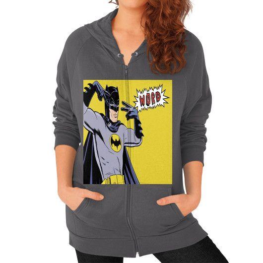 THE BATMAN QUOTE ON AMERICAN APPAREL Zip Hoodie (on woman)