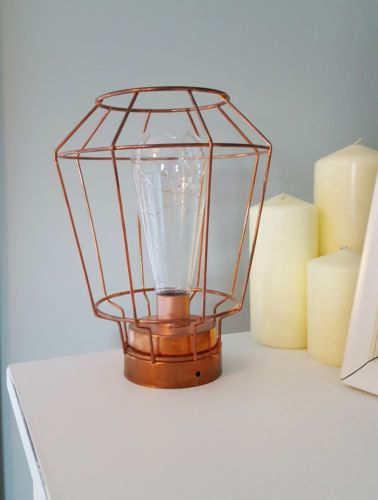 Led Copper Cage Pendant Battery Operated Home Decor Hanging Modern Light