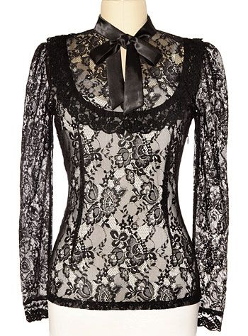 Victorian blouse - Dark Victoria Black Lace Steampunk Blouse  AT vintagedancer.com