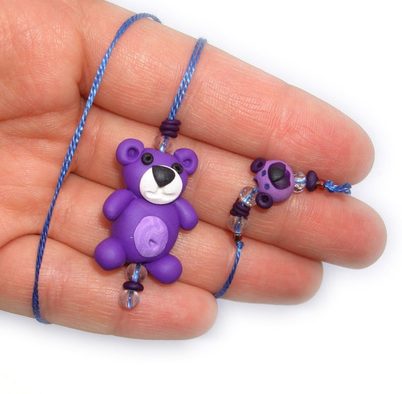 Purple Teddy Bear Dangling Bookmark Handmade in by MagicByLeah