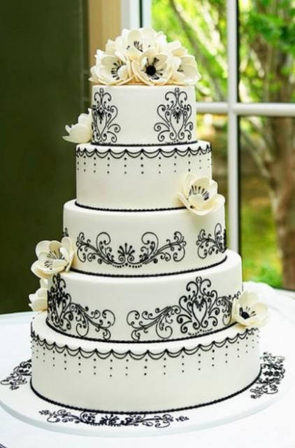 Very Pretty 5 Tier Round White Wedding Cake With Black Patterns And