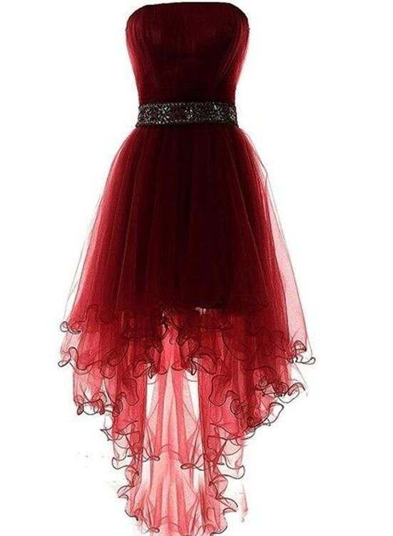 Tendance robes de soirée : Wine Red Homecoming Dress, Burgundy High Low Party Dress with Beadings