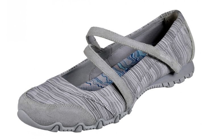Skechers Bikers Ripples Grey Mary Jane Memory Foam Flat Shoes