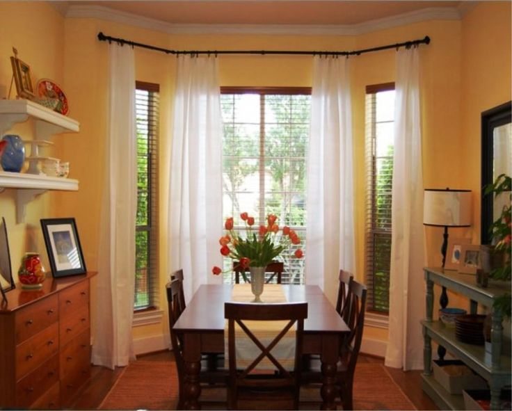 93 window treatment ideas for dining room bay window for Window treatments for bay windows in dining room