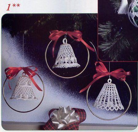 ΣΤΑΥΡΟΒΕΛΟΝΙΑ-CROSS STITCH - NASIA: Καμπάνες πλεκτές, χειροποίητα στολίδια για το χριστουγεννιάτικο δέντρο.