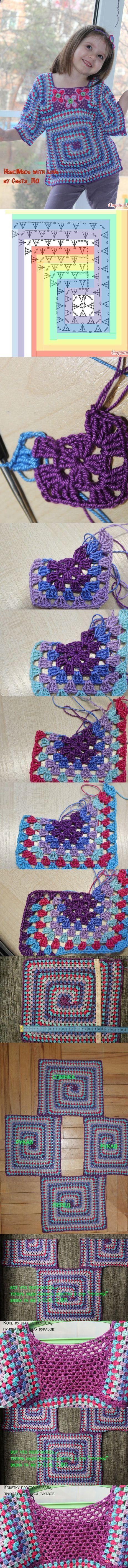 how to crochet a granny spiral tunic - not just for kids ;-) ❁•Teresa Restegui http://www.pinterest.com/teretegui/•❁