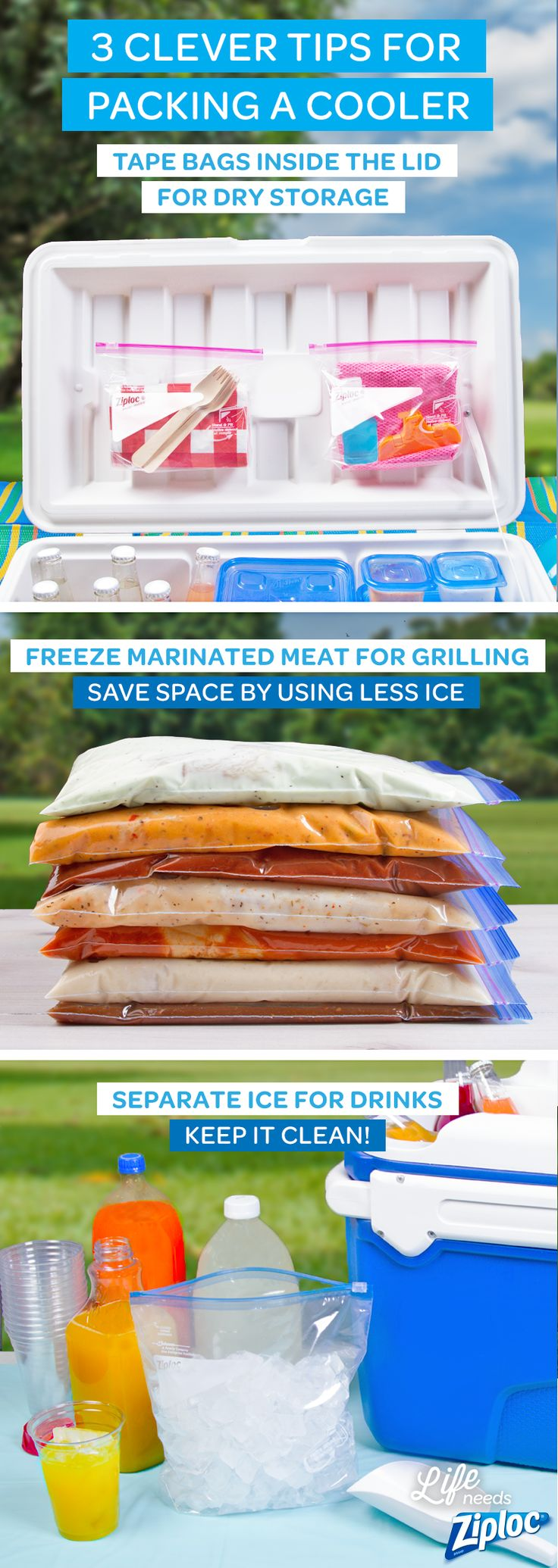 Packing a cooler can be a puzzle. Use these tips, and a few Ziploc® bags, to get ready for your next picnic, road trip, camping vacation, beach trip, summer BBQ, Memorial Day potluck or Fourth of July party. Cooler hacks, or simply smart ideas, are perfect for grilling and also just chilling.