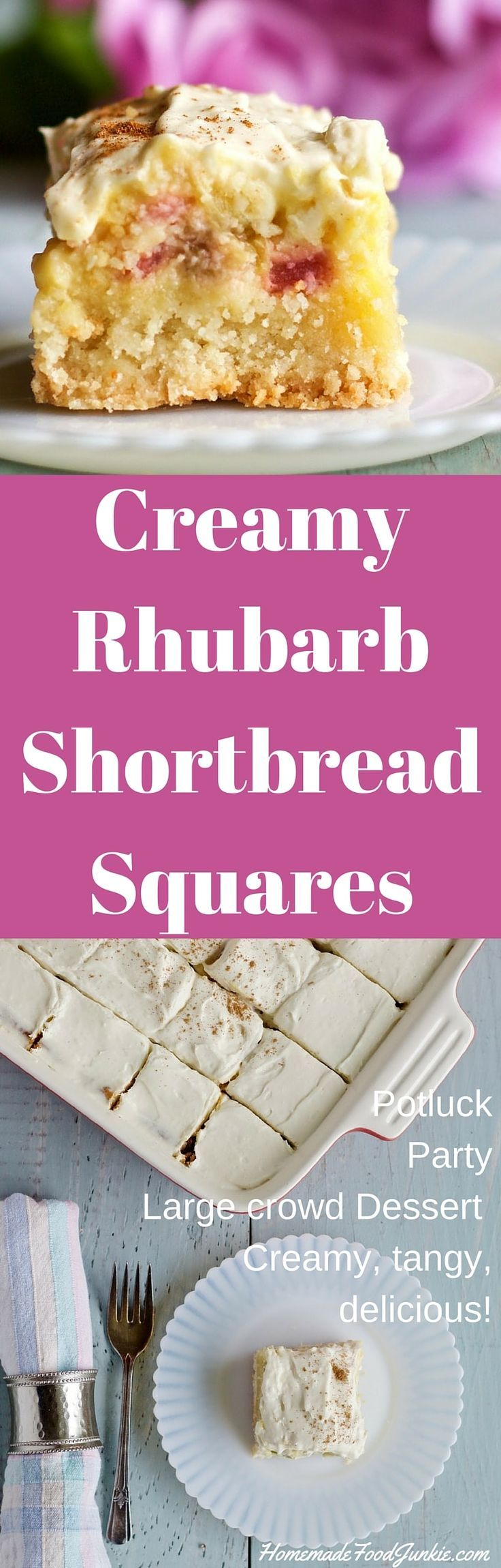 Creamy Rhubarb Shortbread Squares. Potluck, party, large crowd dessert. Watch it vanish off the plates! http://HomemadeFoodJunkie.com