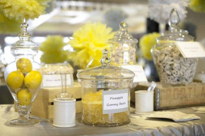 gray and yellow wedding decor, lemon centerpieces, a good affair wedding design, candy buffet