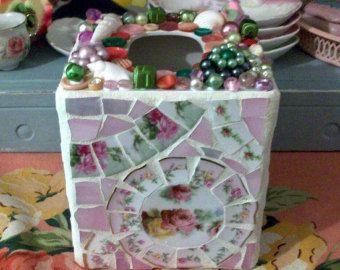 Assez minable mosaïque tissu boite porte Rose Roses maison Decor Cottage affichage Shabby Chic