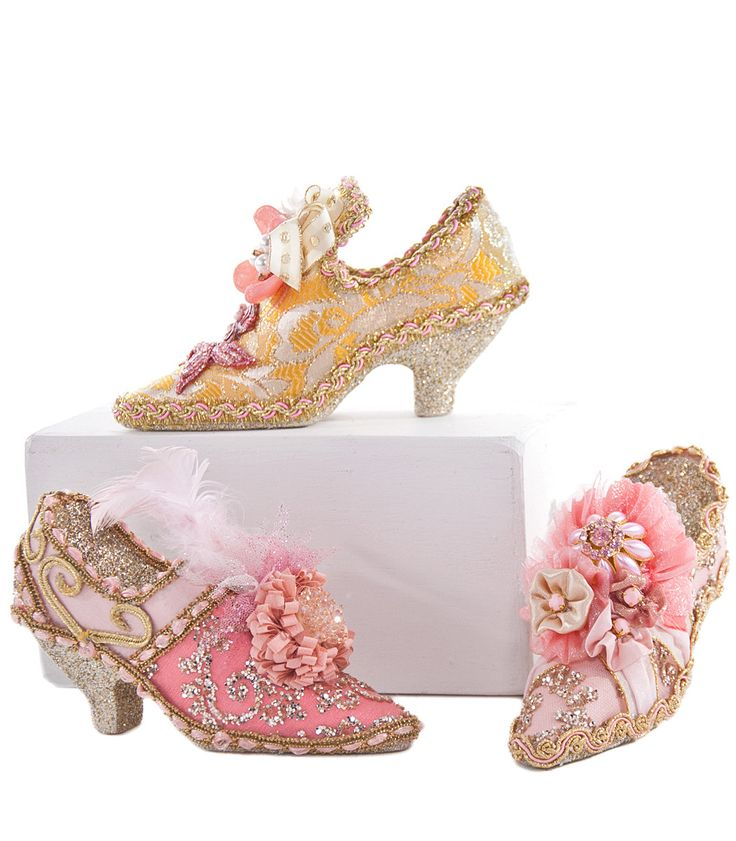 """Katherine's Collection Happily Ever After Christmas Collection Six Assorted 4"""" French Shoe Ornaments Free Ship"""