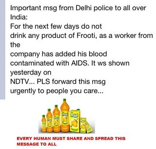 Frooti  contains AIDS Virus ,A Hoax