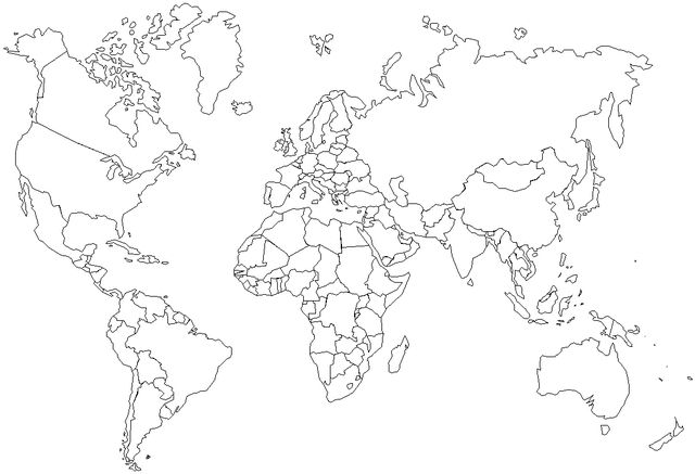Map of the world coloring page - Free Printable Coloring Pages
