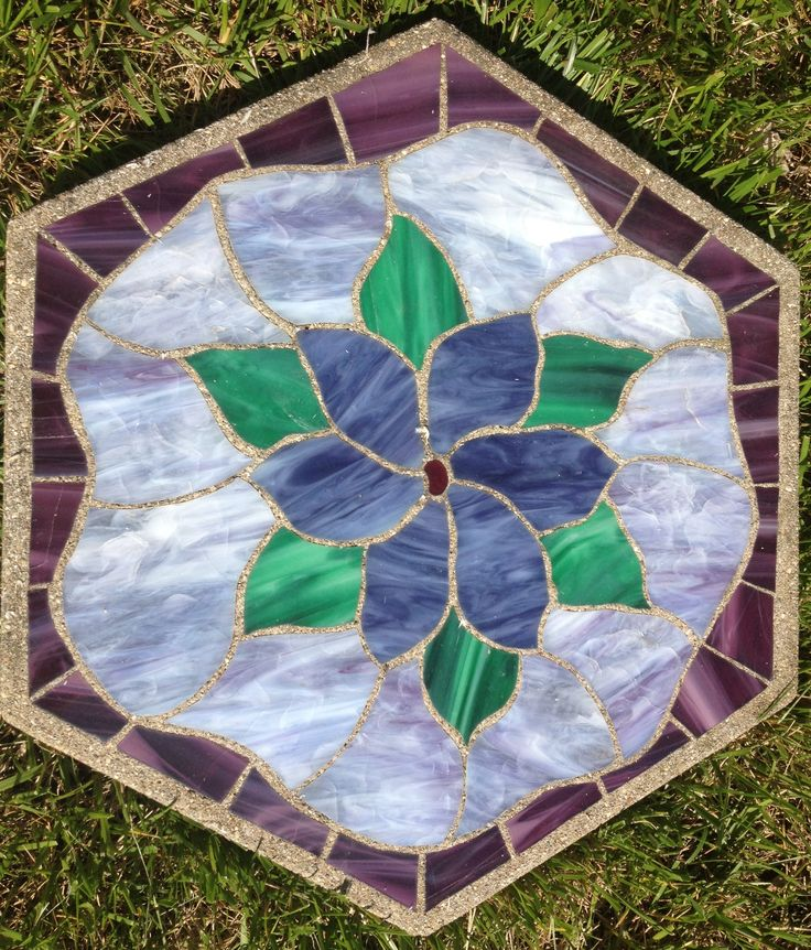 "Forever Purple 16"" Stained Glass Garden Stone"