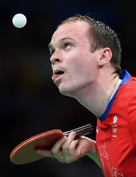 #RIO2016 Best of Day 1 - Britain's Paul Drinkhall hits a shot in his men's singles qualification round table tennis match at the Riocentro venue during the Rio 2016 Olympic...