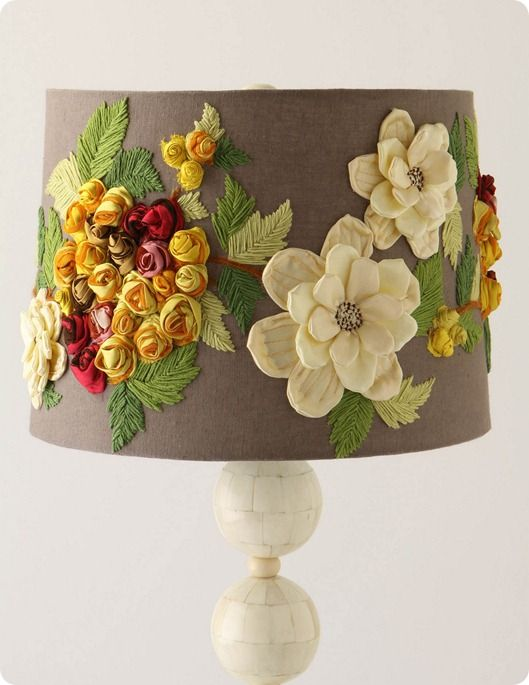 DIY Anthropologie knockoff.  Burlap over old lamp shade.  Hot Glue/Sew flowers on and voila!