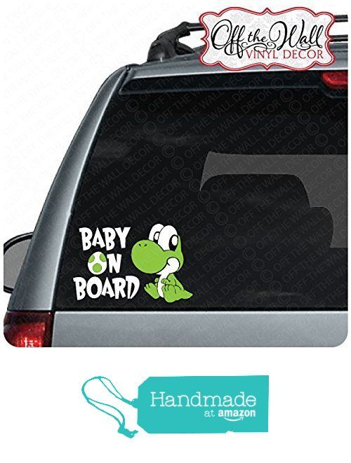 Super mario inspired baby yoshi baby on board sign vinyl decal sticker for cars