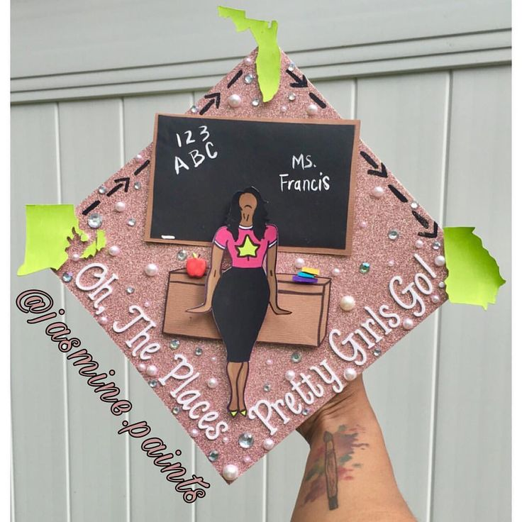 Teacher graduation cap topper
