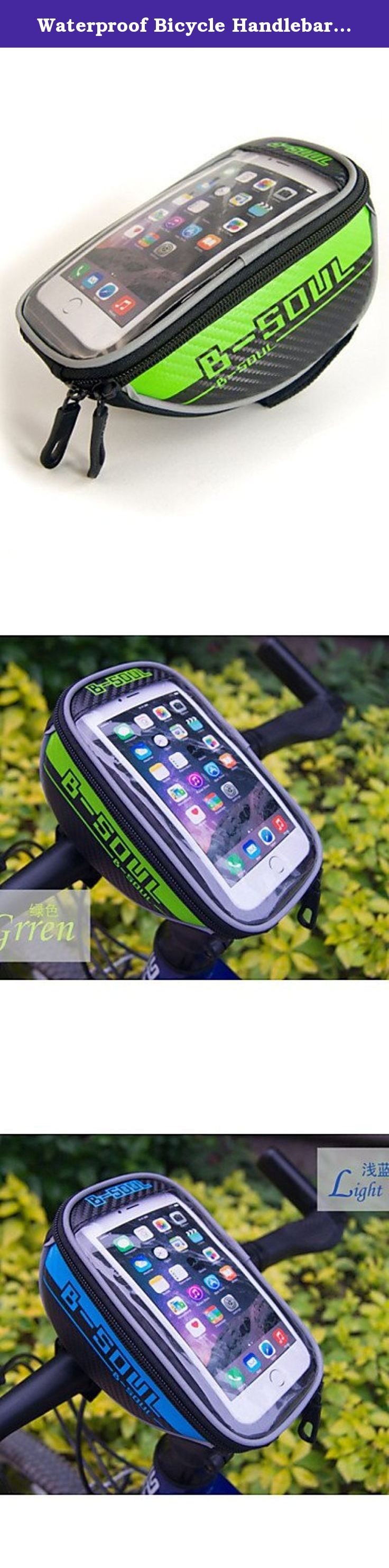 """Waterproof Bicycle Handlebar Bag for 5.5"""" Cellphones , green. Type:Bike Handlebar Bag, Bike Frame Bag, Cell Phone Bag, Activity:Cycling/Bike, Gender:Unisex, Occasion:Outdoor, Material:Nylon, Color:Blue, Gray, Red, Green, Function:Touch Screen, Wearable, Reflective Strip, Rain-Proof, Waterproof, Dimension (L¡ÁW¡ÁH) (cm):18*10*7cm, Net Weight (kg):0.112, Capacity (L): Capacity Range (L): Compatible Cell Phone Brands:Other Similar Size Phones, Iphone 6 Plus/6S Plus, Iphone 6/IPhone 6S, LG G3..."""