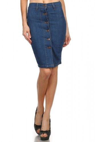 Cute button down denim pencil skirt (no. 130SK5005) | The Shop ...