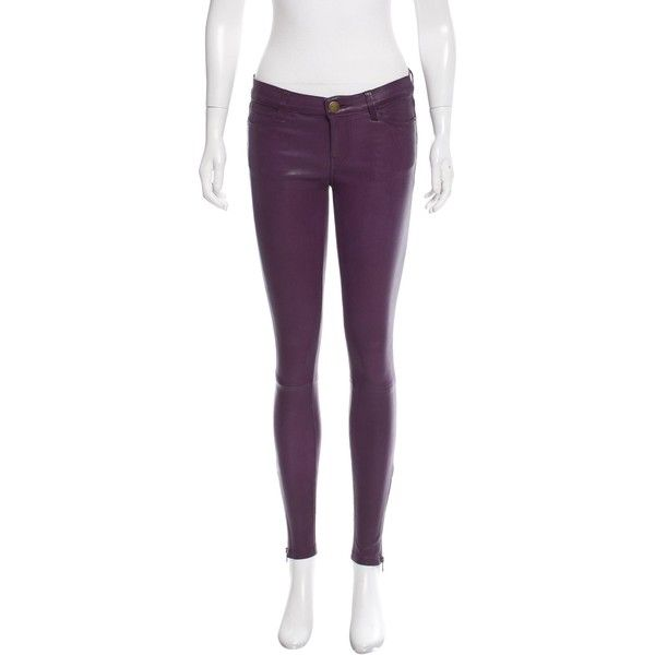 Pre-owned Current/Elliott Low-Rise Skinny Pants ($225) ❤ liked on Polyvore featuring pants, purple, low rise skinny pants, low rise trousers, leather trousers, 5 pocket pants and 5 pocket leather pants