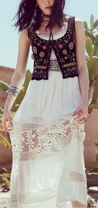 Crochet inspiration:  Don't crochet the whole skirt -- just insert rows into a simple skirt.