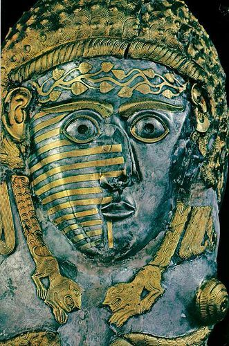 """virtual-artifacts: """" Tatooed Face; a Thracian Goddess and/or a woman of high status. 380 - 350 BCE. ancient Bulgaria. the Vrasta Greave, silver and gold. """""""