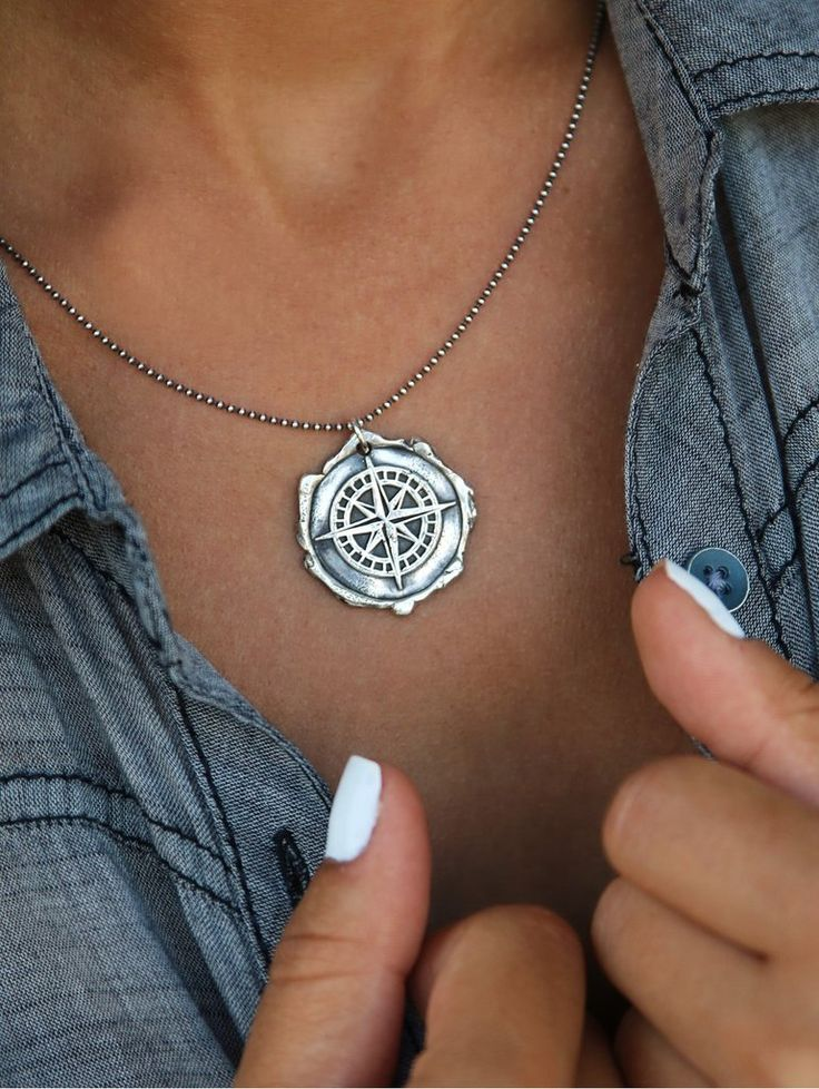 Handmade Sterling Silver Compass Wax Seal Necklace by HappyGoLicky Jewelry. Order TODAY, ships TOMORROW! Just click pic to purchase.