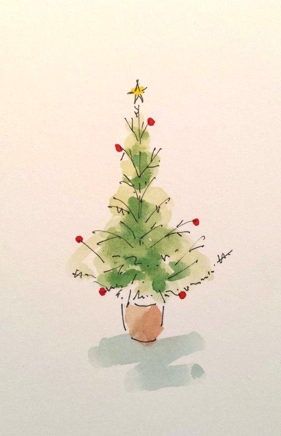Original Handgemalte Aquarell Weihnachtskarten Weihnachtsbaum