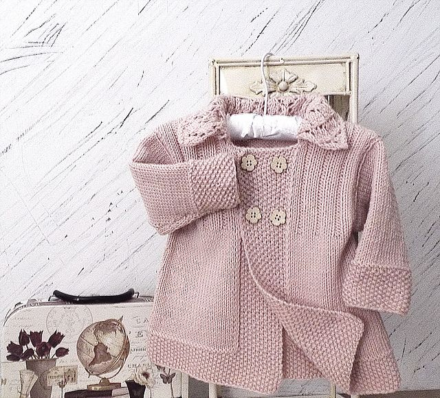 Ravelry: Baby girls jacket with lace collar P063 pattern by OGE Knitwear Designs