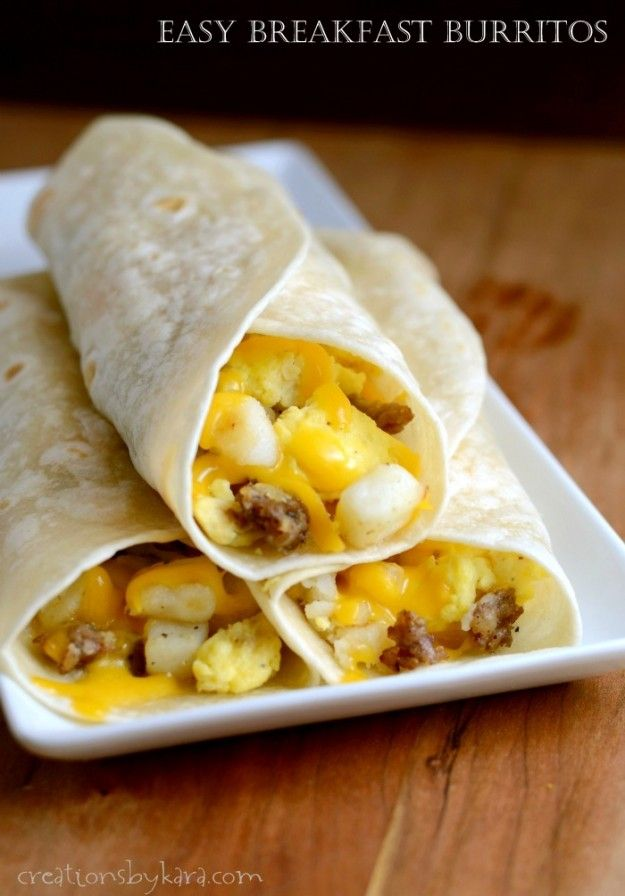 These breakfast burritos can be frozen, then re-heated for a quick hearty breakfast on the go.