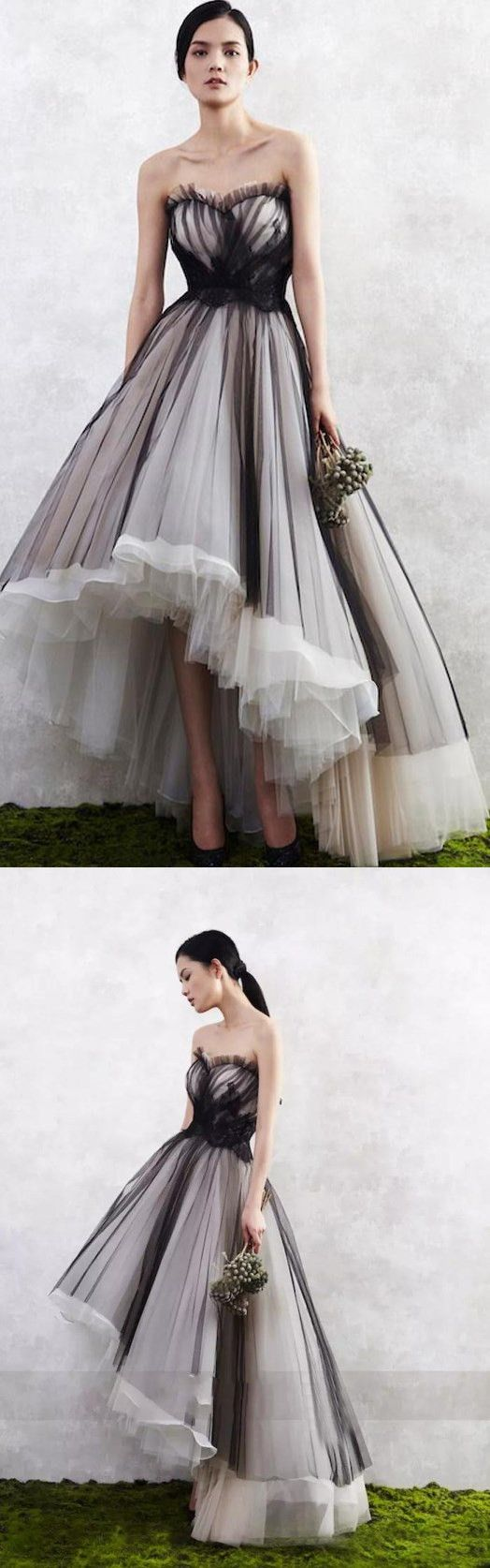 High low gown with lots of tulle. ~ETS #bridesmaids