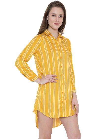 a57227ea8153e8 Hive91 Yellow Long Shirt Striped Design in Rayon Fabric   Women ...