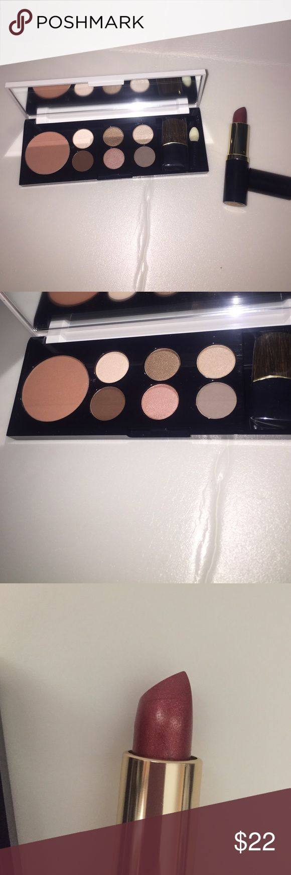 ESTEE Lauder makeup set BRAND NEW AND AUTHENTIC. Eyeshadow palette with blush plus ESTEE Lauder lipstick in the color sunstone Sephora Makeup