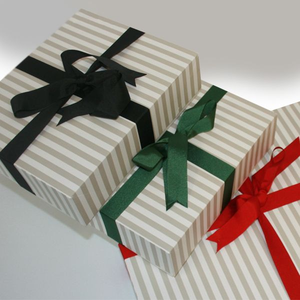 Our new gift boxes! Available in 3 Sizes. Ribbon also available!