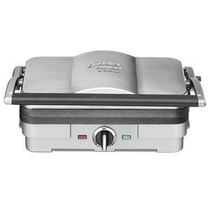 CUISINART - GR35E _ Plan de cuisson multifonctions Junior Inox - Gril, barbecue, plancha, panini, croque monsieur - 2 modes d'utilisation - 1200 W - Thermostat 3 températures - 2 plaques grill et plancha amovibles et réversibles - Répartition homogène de la chaleur sur la surface des plaques - Accessoires : 2 plaques grill / plancha réversibles, Tiroir de jus de cuisson intégré, 1 spatule de nettoyage - Dimensions fermé: 30 x 20 x 14 cm - Garantie 3 ans.