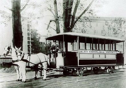 ....tram a cavalli a Milano, omnibus SAO.  ('1800 ) - © Umberto Garbagnati -