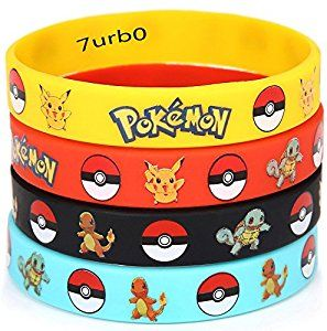 Amazon.com: 12 PCS Pokemon Rubber Bracelets Wristband -Birthday Party Favors Supplies: Toys & Games