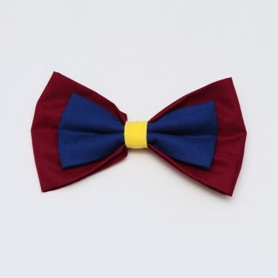 Maroon, Blue and Yellow Bow Large