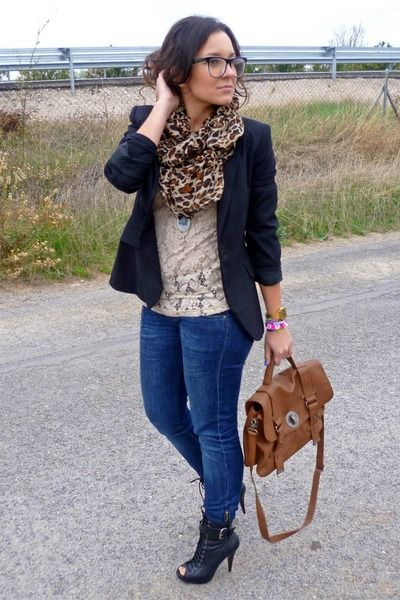 navy blazer lace and leopard i absolutely love this my style pinterest blazers. Black Bedroom Furniture Sets. Home Design Ideas