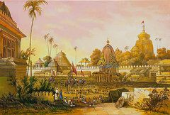 Asia Landscape Paintings - Jaganath Puri with Ratha Yatra in progress by Dominique Amendola