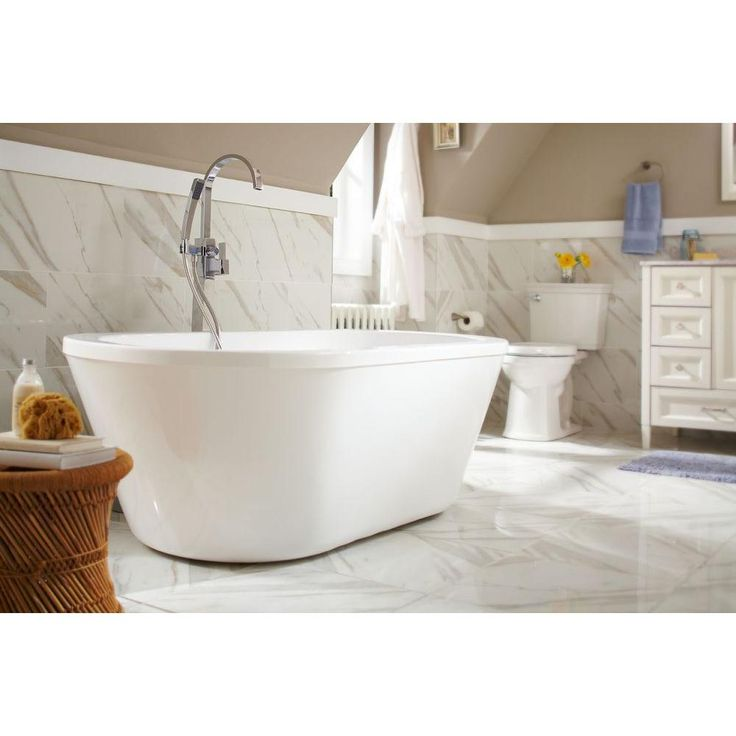 Schon colton ft center drain freestanding bathtub in glossy white ps make it and home Home depot bathroom design center