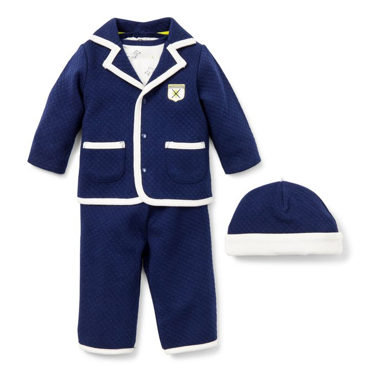 "Available in Newborn size, this outfit is perfect for your baby boy's debut into this world - ""Dashing Dachshund 4 Piece Take Me Home Set"""
