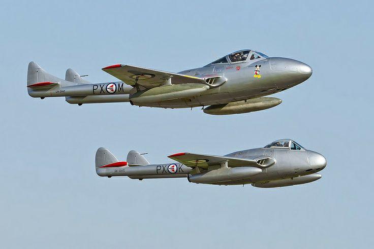 De Havilland Vampire FB6 and T55 #plane #1950s