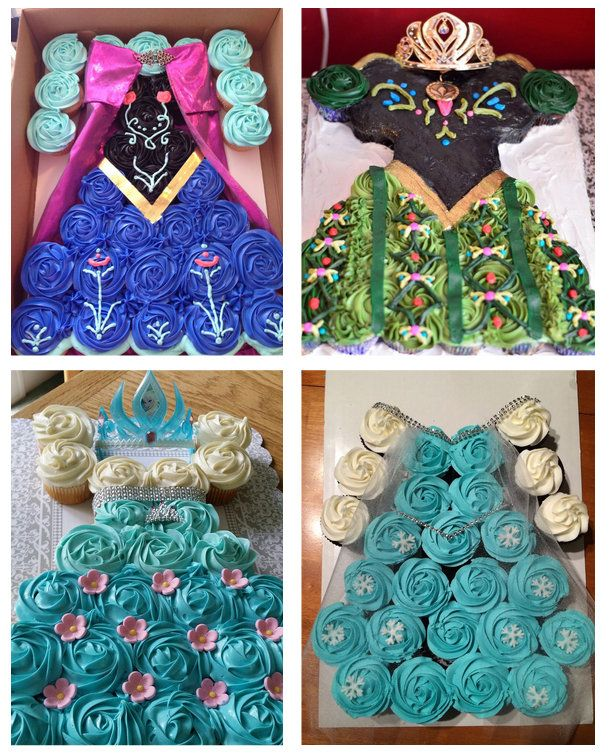 A complete Frozen wardrobe of princess dress cupcake cakes