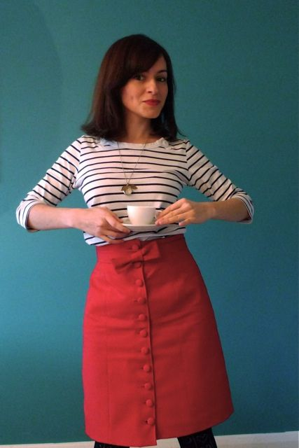 Dazzlingly Red Colette Beignet Skirt by Tilly.  Red corduroy and brass buttons. *completed*